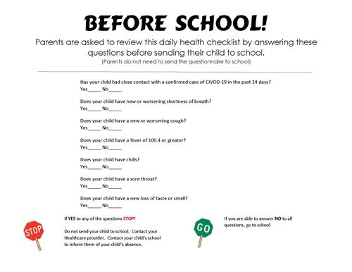 Before School checklist